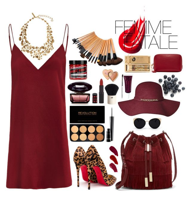 """Maroon my mind"" by veraillegal ❤ liked on Polyvore featuring Oscar de la Renta, Christian Louboutin, Vince Camuto, Una-Home, MAC Cosmetics, Ellis Faas, Rimmel, H&M, Truly Aesthetic and Yves Saint Laurent"