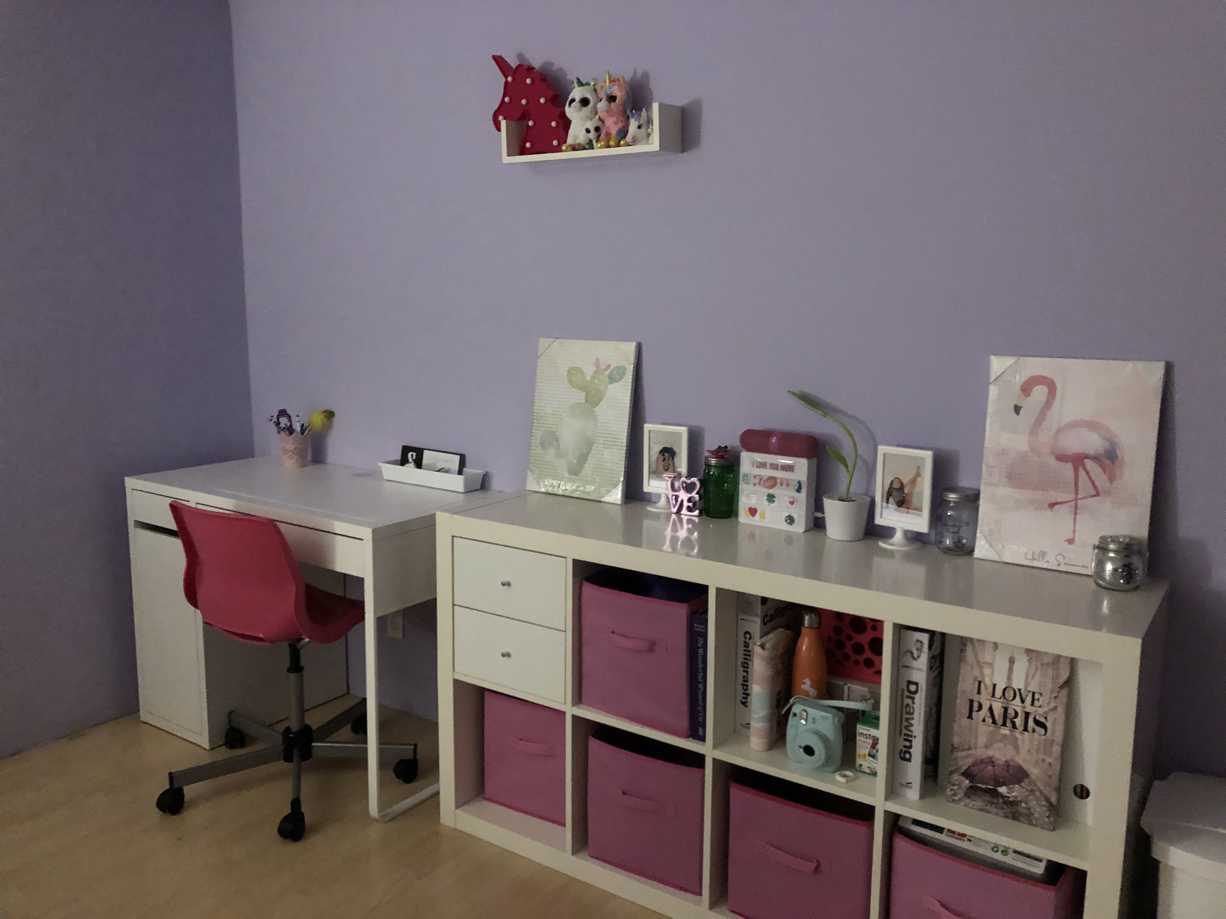 Ikea micke desk kallax shelf tween girls bedroom noralyne in