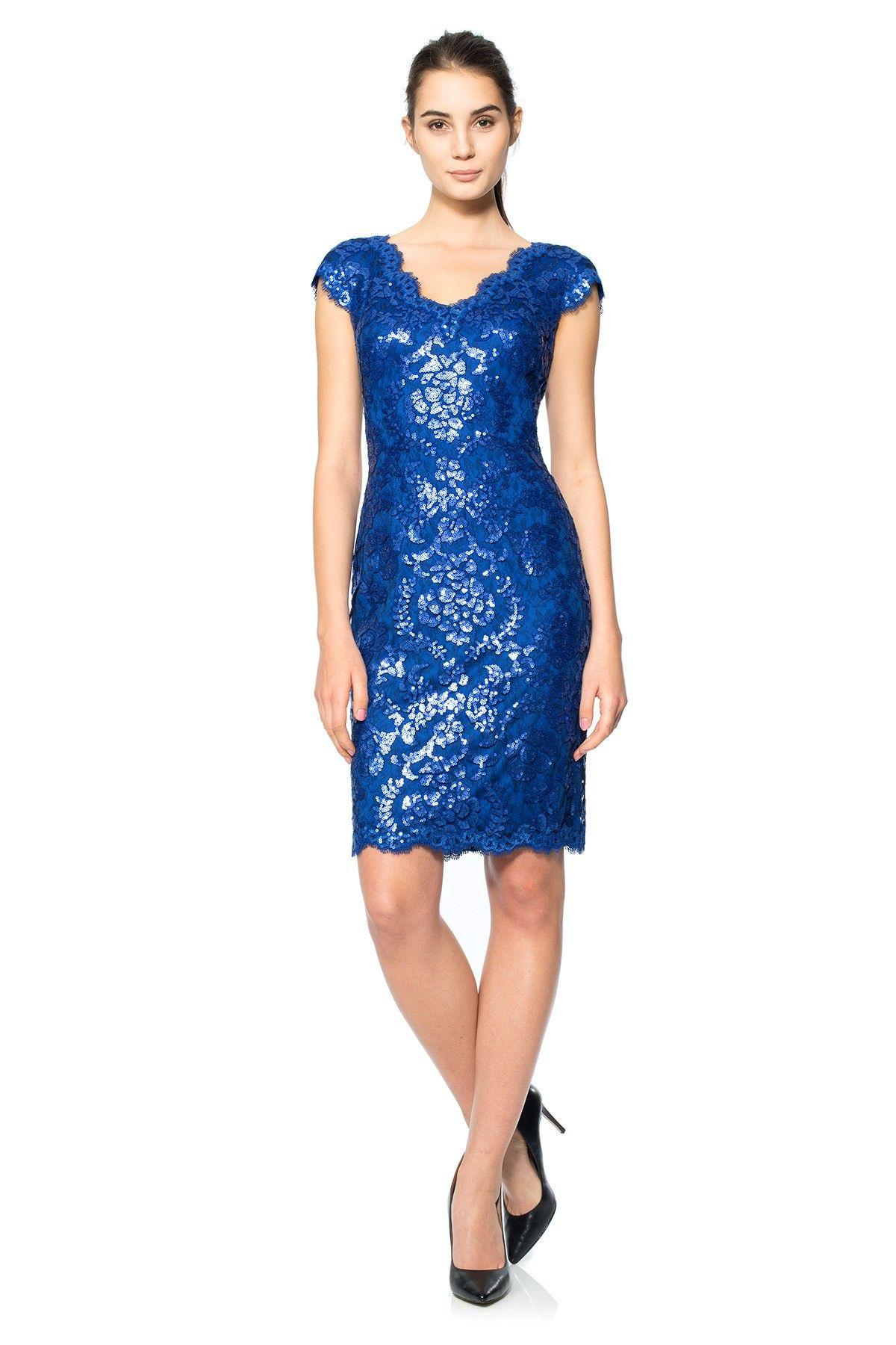 Paillette Embroidered Lace V-Neck Cap Sleeve Dress | Tadashi Shoji ...