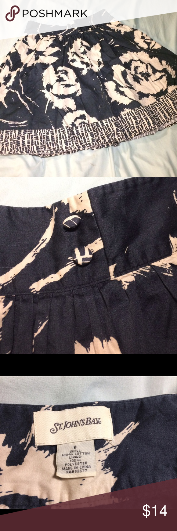 Navy and White Floral Swing Skirt Gorgeous Navy and White Floral swing skirt. Size 8, re-posh, was just too big for me. Very gently worn, soft cotton material. Button detail and side zipper Skirts A-Line or Full