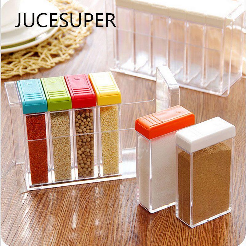 6pcs Set Colorful Seasoning Box Spice Jar Kitchen Spice Storage