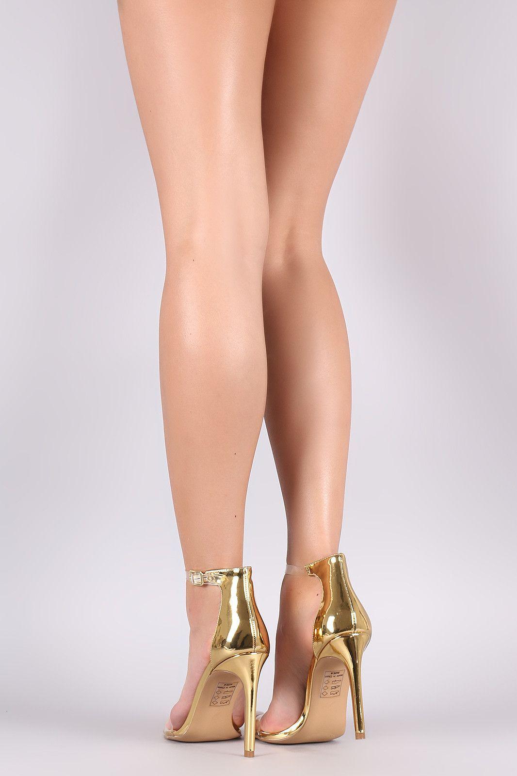 Shoe republic la metallic transparent ankle strap stiletto heel