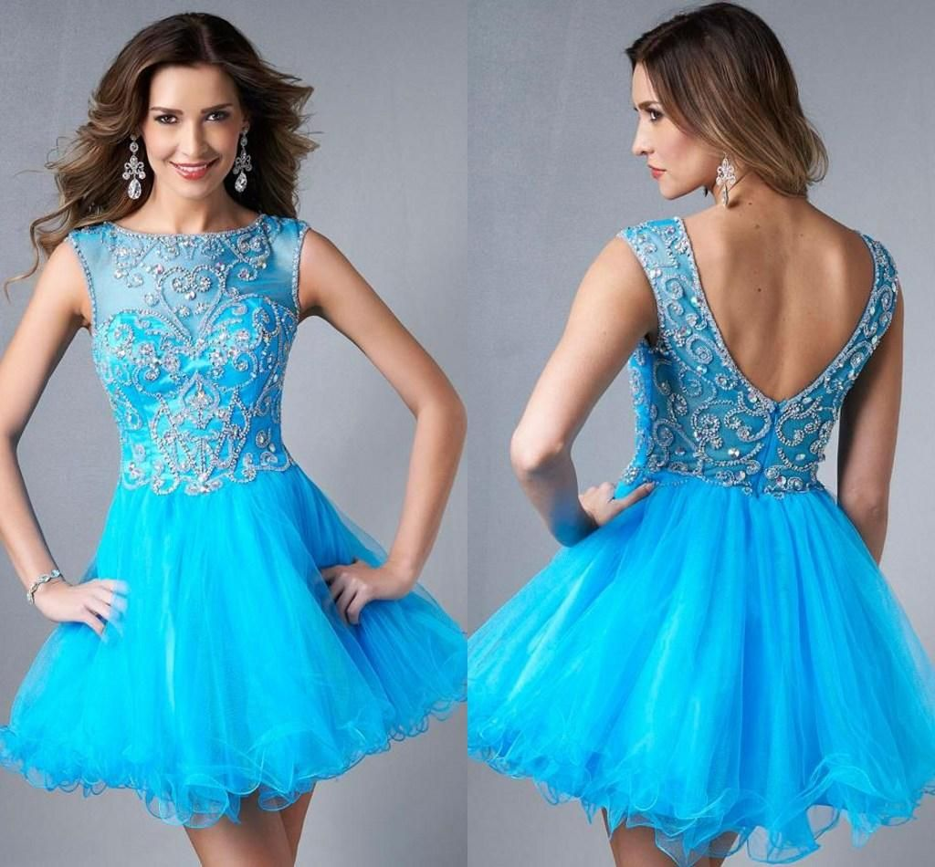 2015 Cute Short Prom Dresses Blue Sheer Scoop Beaded Applique See ...