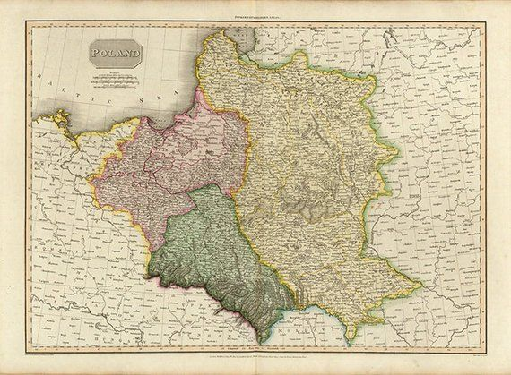 Old Map Of Poland 1814 Vintage Restoration Hardware Home Deco