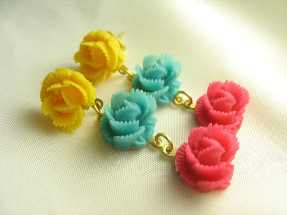 Carnival Candy  trio of wild roses by lennonsleadinglady on Etsy, $18.00