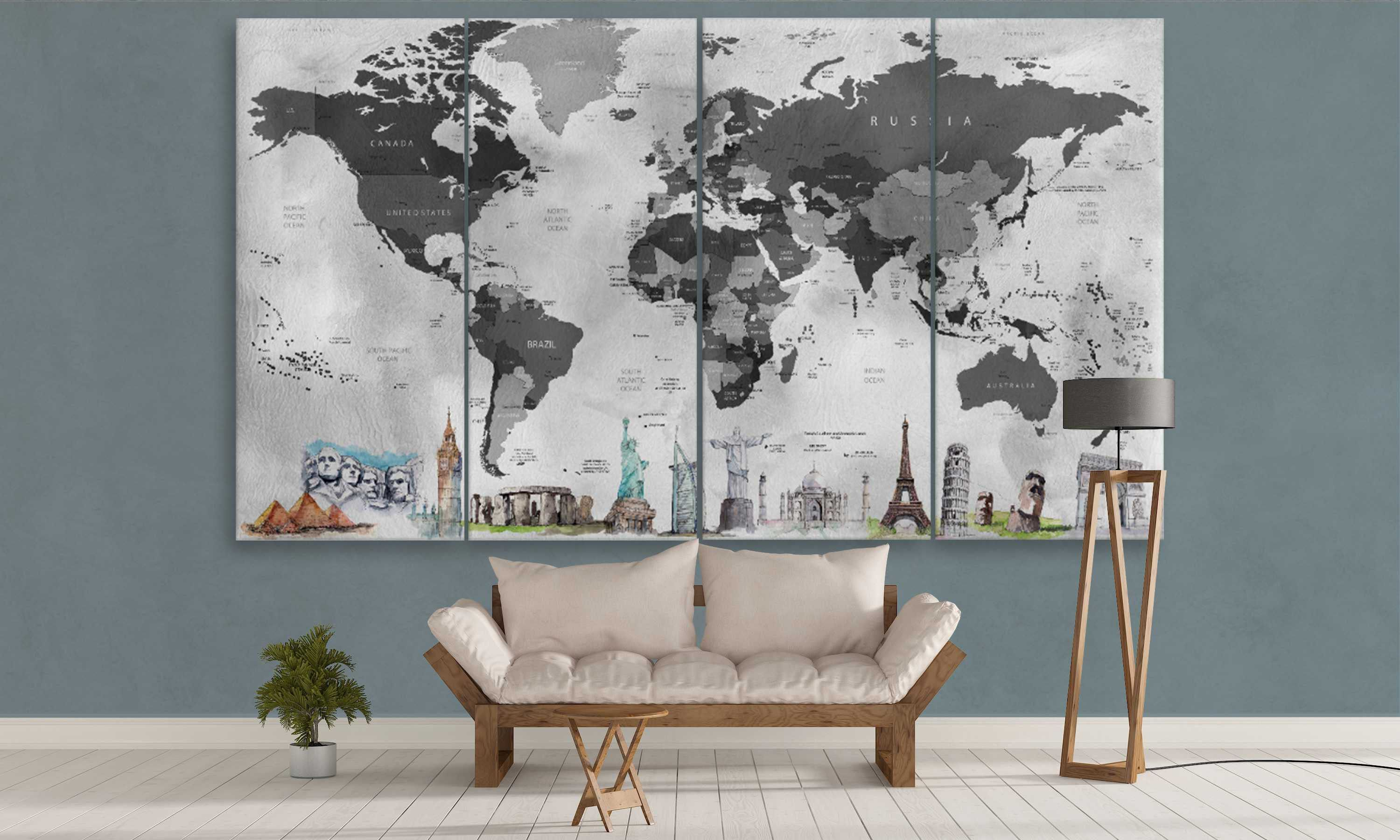 Black And Grey World Map With Monuments Travel World Map Canvas - Grey world map canvas