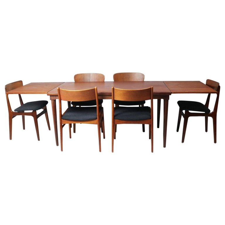 1stdibs Dining Room Set Extendable Dining 6 Chairs Danish Mid