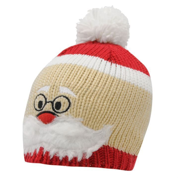 funny joke novelty santa face xmas christmas woolly beanie bobble knit hat christmas beanie christmas