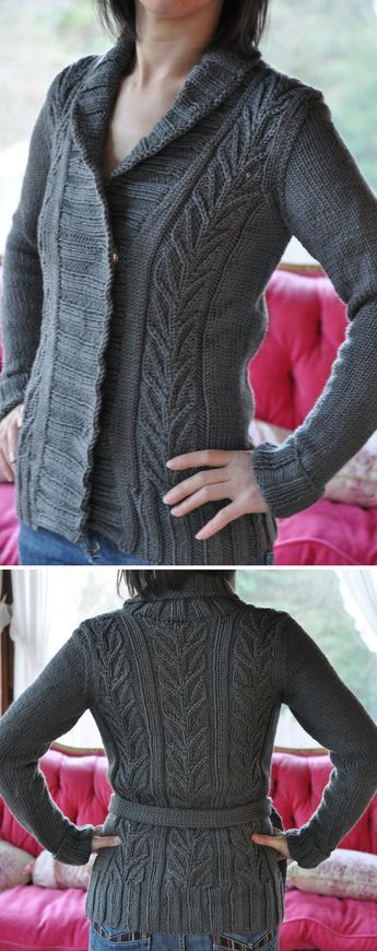 c416caa7060b Free Knitting Pattern for Starsky Cardigan - Shawl collar wrapped front  sweater with leaf lace on front and back with belt. Bulky weight yarn.
