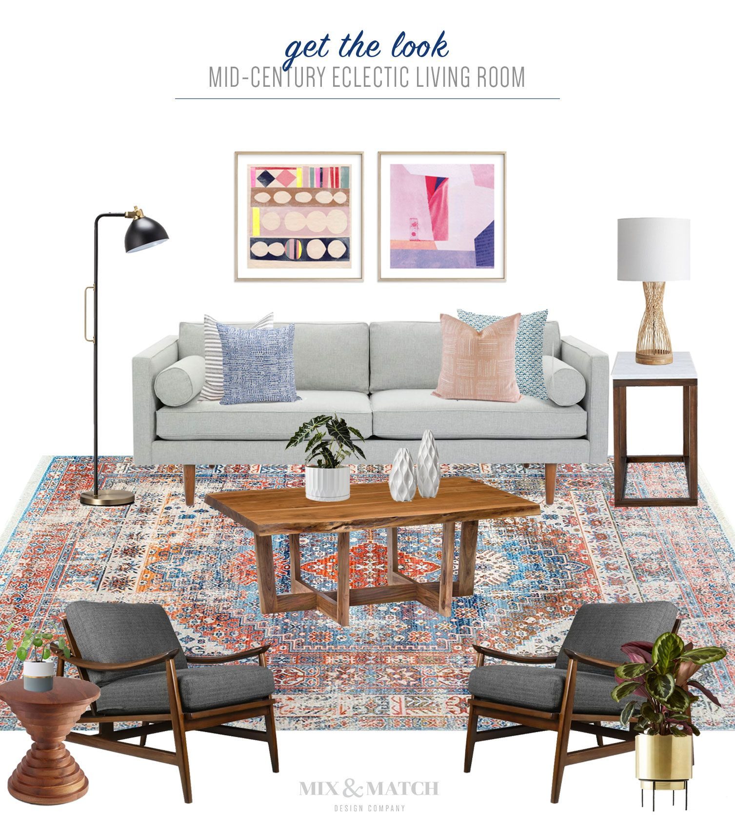 Get The Look Mid Century Modern Eclectic Living Room Modern