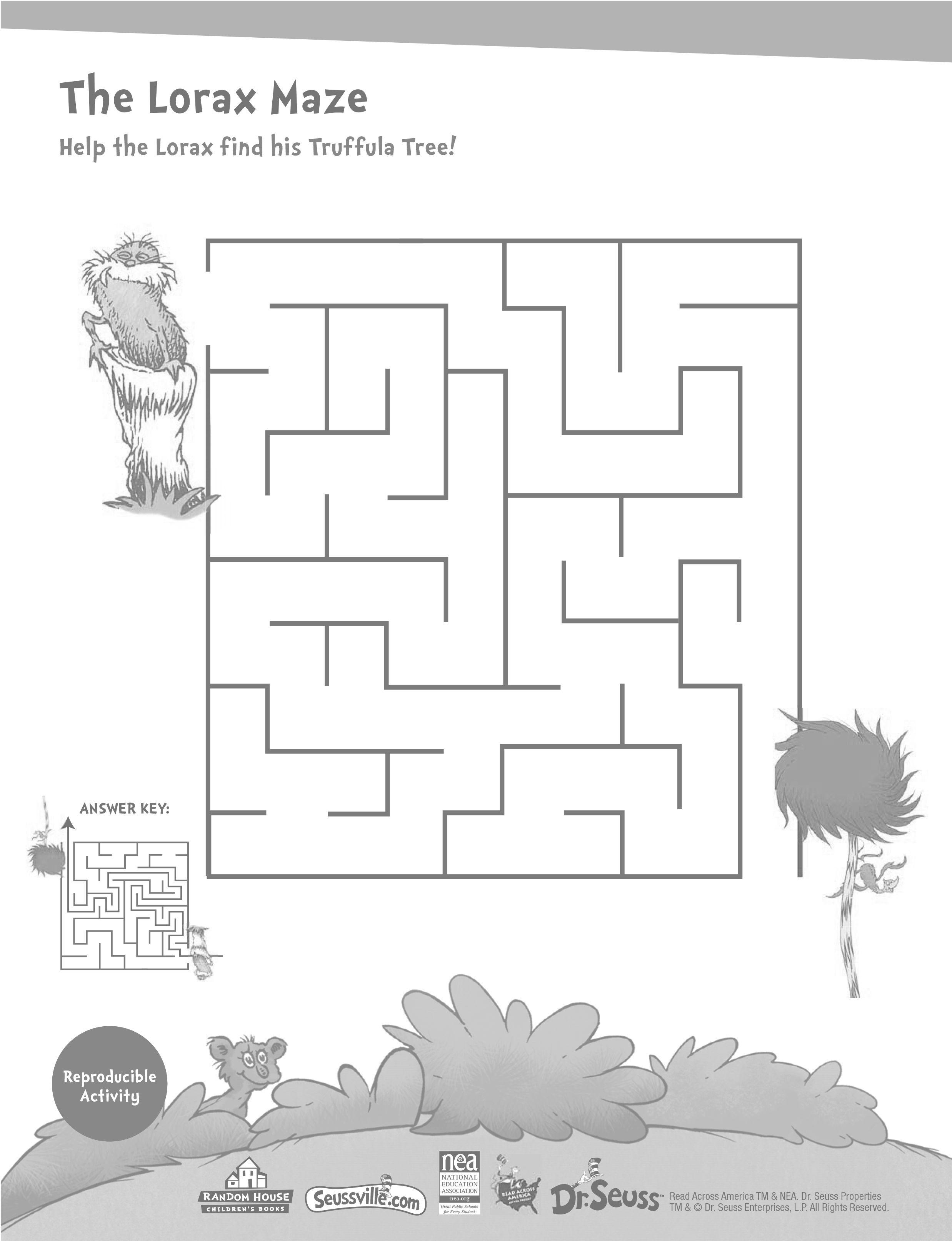 Dr Seuss Lorax Maze For Earth Day Earthday Lorax