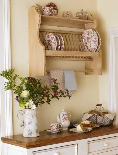 Love This Plate Rack The Wood Countertop And Wall Color Kitchen Storage Furniturecottage Kitchenscountry Kitchensdresser