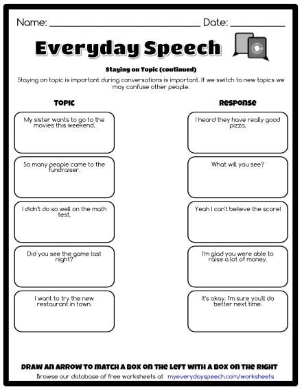 Staying On Topic Continued Social Skills Perspective Taking Worksheets Free Free printable social skills worksheets