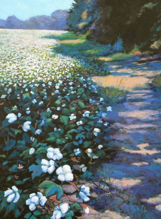 Cotton field by Jeanette Jarmon - painting acrylic on canvas - with Pin-It-Button on FineArtAmerica
