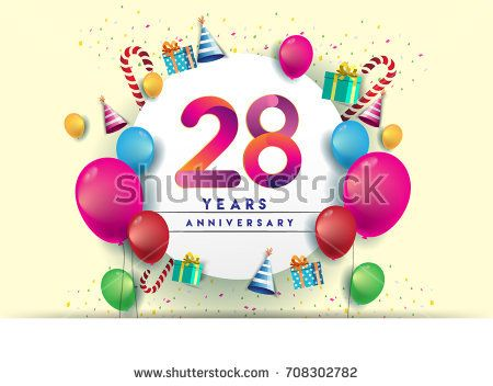 28th years Anniversary Celebration Design with balloons and gift box, Colorful design elements for banner and invitation card.