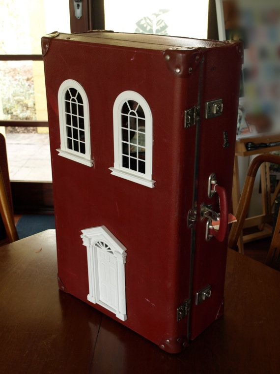 Suitcase Dollhouse Vintage Red Suitcase Upcycled Into