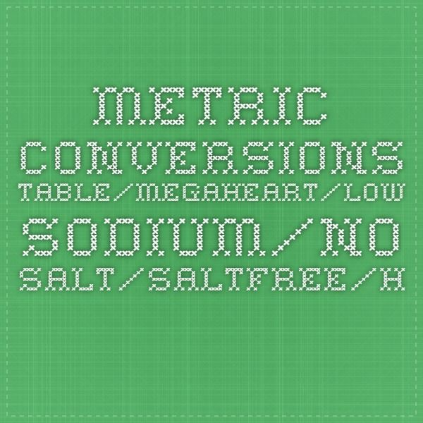 Very useful for converting my British recipes!  metric conversions table/megaheart/low sodium/no salt/saltfree/heart failure/salt free