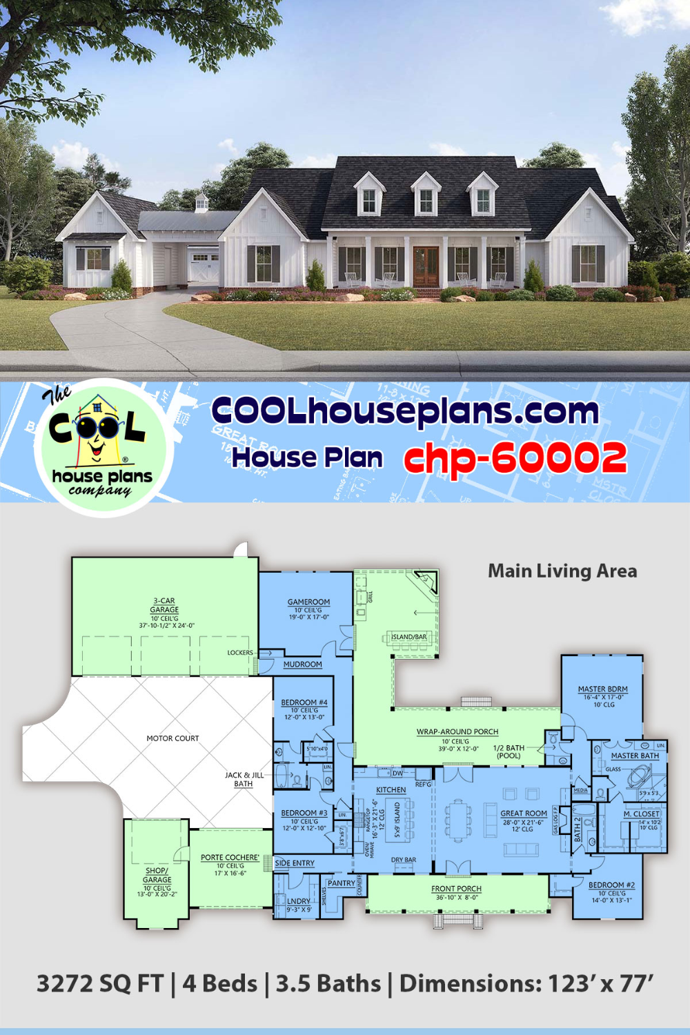 House Plan Chp 60002 At Coolhouseplans Com Family House Plans House Plans Farmhouse House Plans