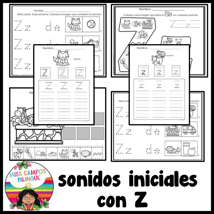 La Letra Z Y Sus Silabas Za Ze Zi Zo Zu En Posicion Inicial Medial O Final 50 Paginas De Trabajos Spanish Resources Teacher Pay Teachers Teachers Pay Teachers