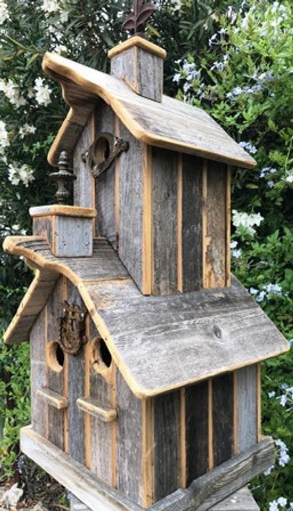 Rustic Two Story Birdhouse Etsy Bird House Bird Houses Bird House Kits