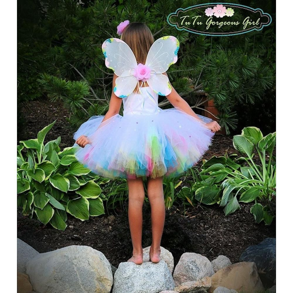 Toddler Girls Chic Couture Baby Flowers Pink Fairy Wings /& Wand Set 2T-5T