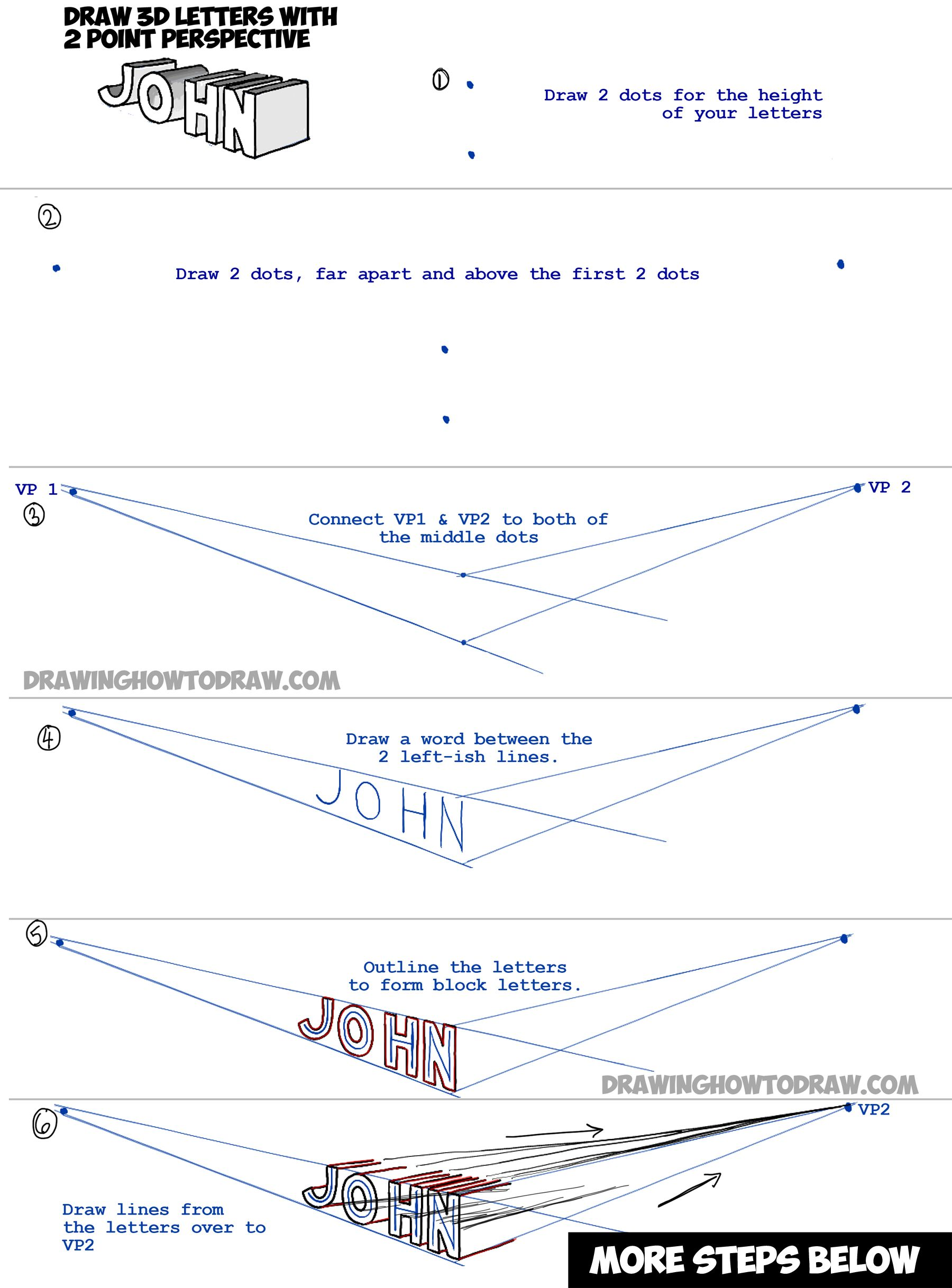 How To Draw 3 Dimensional Letters With 2 Point Perspective Simple Drawing Tutorial How To Draw Step By Step Drawing Tutorials Perspective Drawing Lessons Perspective Drawing Drawing Lessons