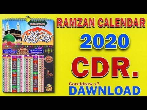 New 2020 Ramzan Calendar   Ramzan Calendar CDR File Free ...