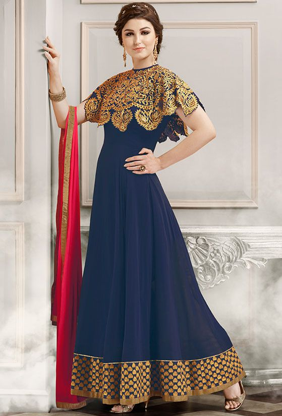 Amazing Navy Blue Anarkali Suit with Capelet and Dupatta