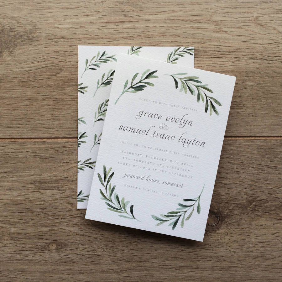 Olive Branch Wedding Invitations In 2019