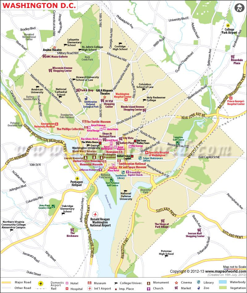 Washington D.C. map - Washington DC, which is named after the first ...