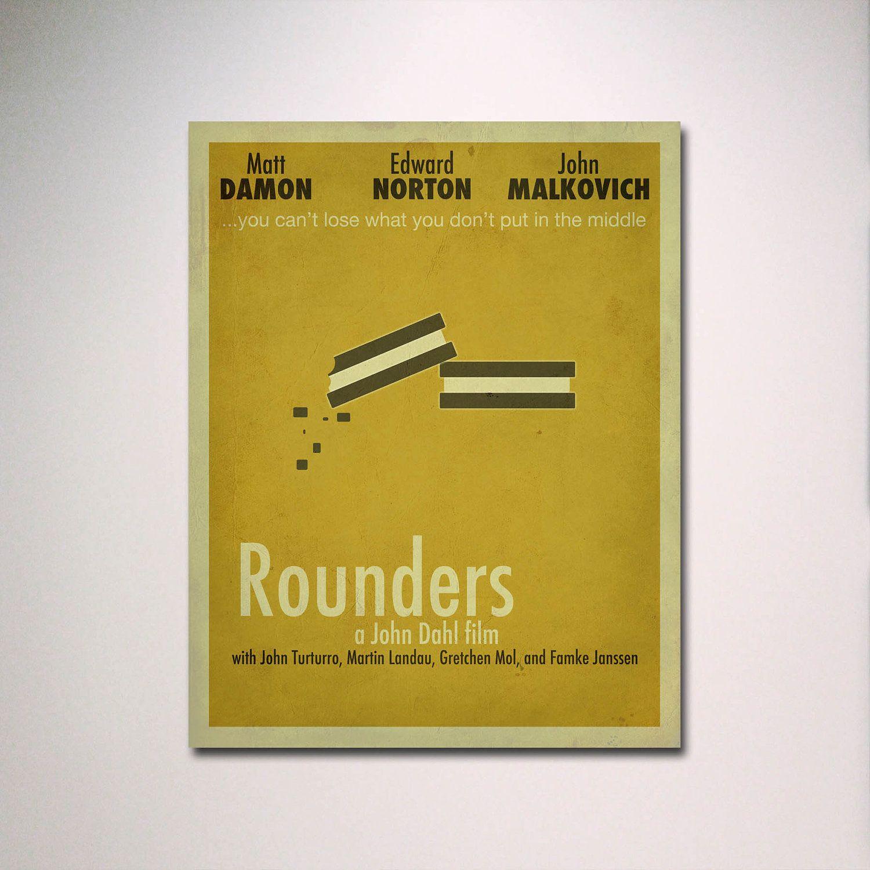 Rounders Minimalist Movie Poster / Poker Room / Movie Room / Minimal ...