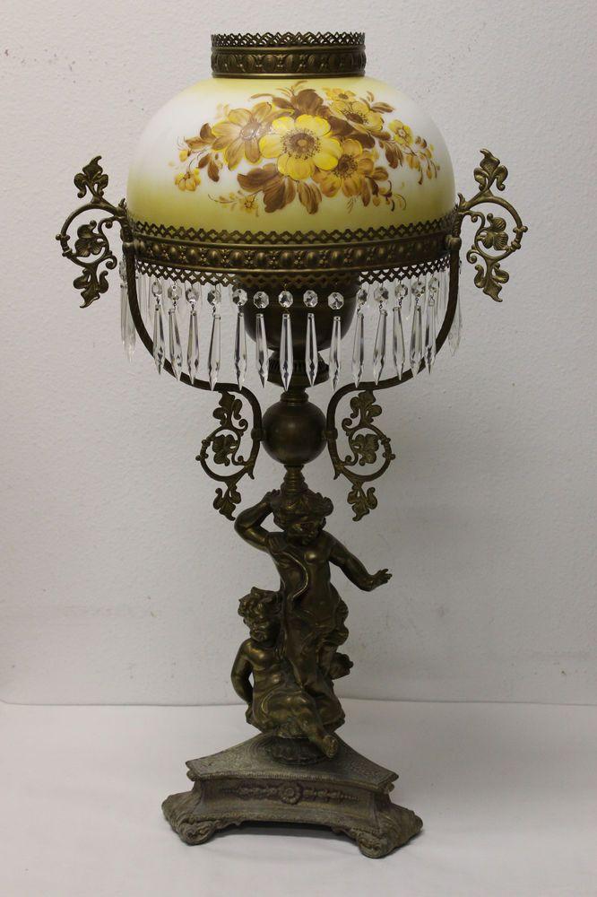 Antique John Scott Cherub Double Wick Table Lamp Unconverted Lamp Antique Light Fixtures Antique Lamps