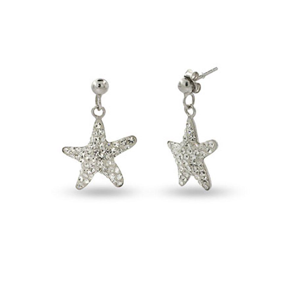 Silver Swarovski Crystal Starfish Earrings