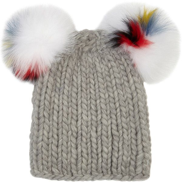 EUGENIA KIM Grey fur pompom wool beanie (£205) ❤ liked on Polyvore featuring accessories, hats, wool beanie, wool beanie hat, fur pom pom beanie, grey wool hat and grey beanie