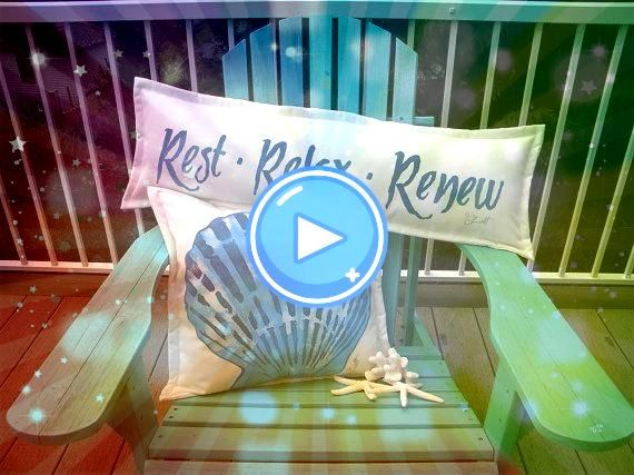 or BENCH PILLOW Rest Relax Renew 14x36 handpainted garden bench spa chaise deck yac HAMMOCK or BENCH PILLOW Rest Relax Renew 14x36 handpainted garden bench spa chaise dec...