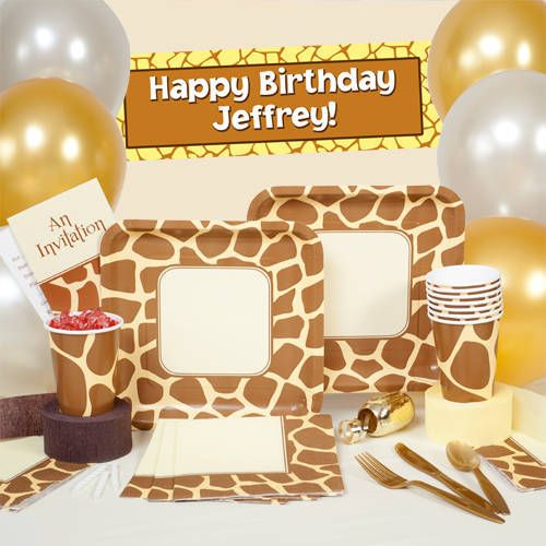 Our Giraffe Print Party Supplies is printed with tan giraffe print and works for baby showers birthday parties and more! & Our Giraffe Print Party Supplies is printed with tan giraffe print ...