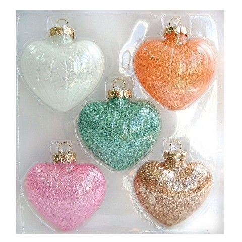 Christmas Glass Ornament Set 5 ct Pastel Hearts  Scoping Out for
