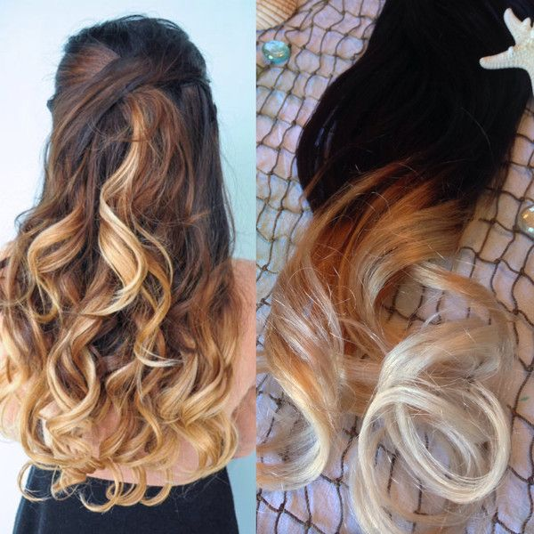 Ombre Hair Extensions Balayage Hair Extensions Clip In Dark Brown
