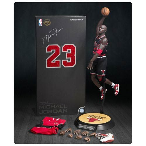 mfhdpv Michael Jordan Bulls 23 Black Jersey Real Masterpiece Figure
