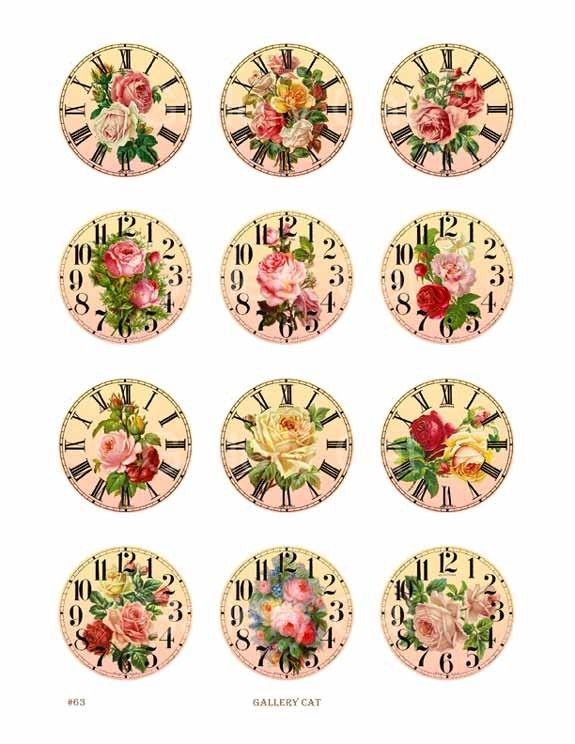Vintage Rose Clock Digital Collage Sheet 2 Inch Circle CS63 Print It Yourself Paper Jewelry Original Whimsical Altered Art by GalleryCat. $3.50, via Etsy.