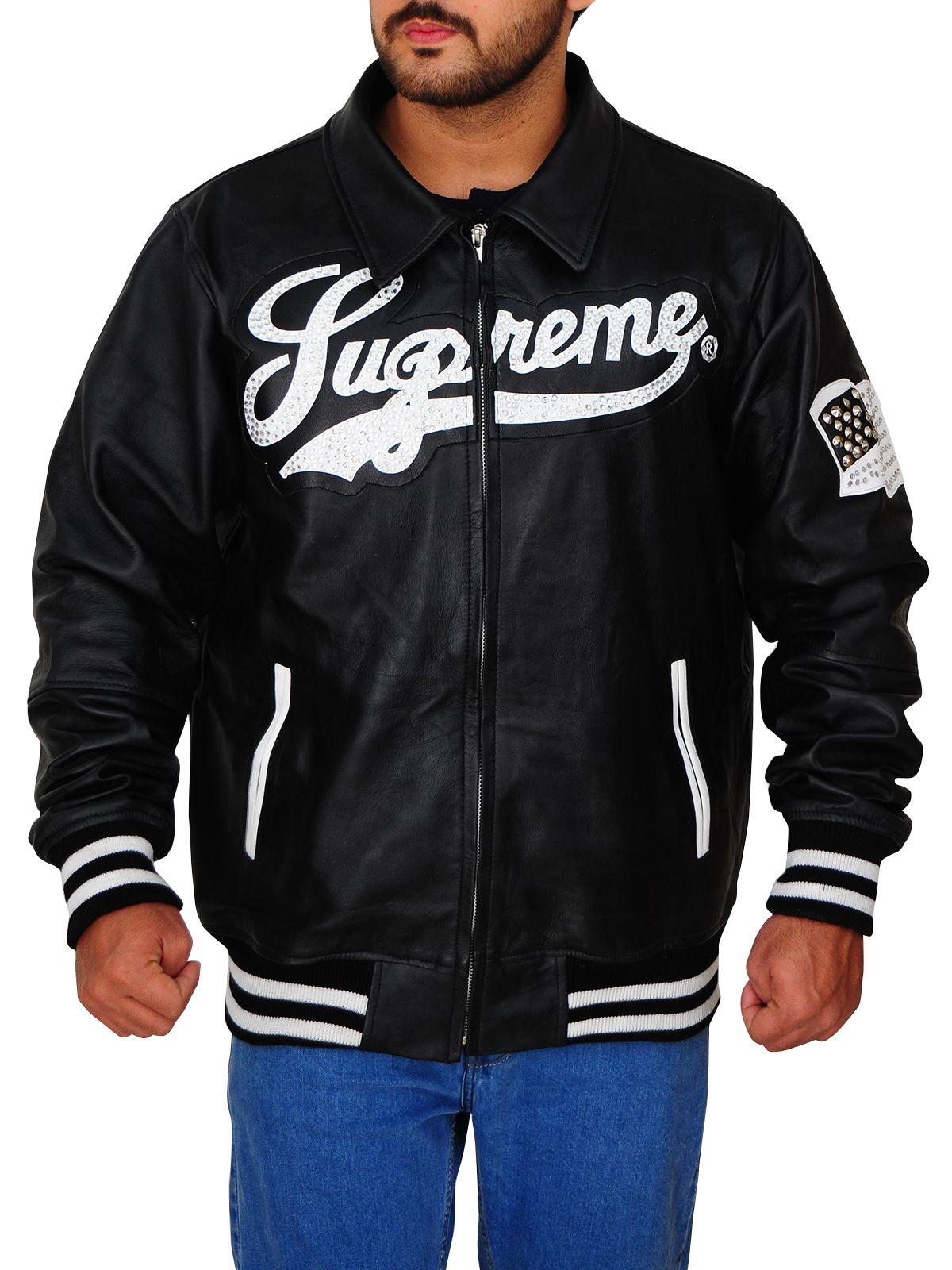 Men S Supreme Black Bomber Leather Jacket Men Jacket Mauvetree Leather Jacket Men Mens Fashion Summer Mens Fashion Casual [ 1600 x 1200 Pixel ]