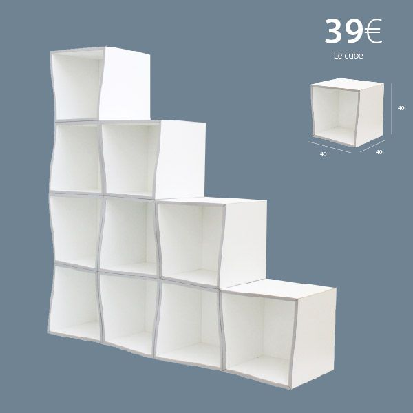 cube de rangement modulable en forme de vague 40x40x40 cm fabriqu en france par fabrimeuble en. Black Bedroom Furniture Sets. Home Design Ideas