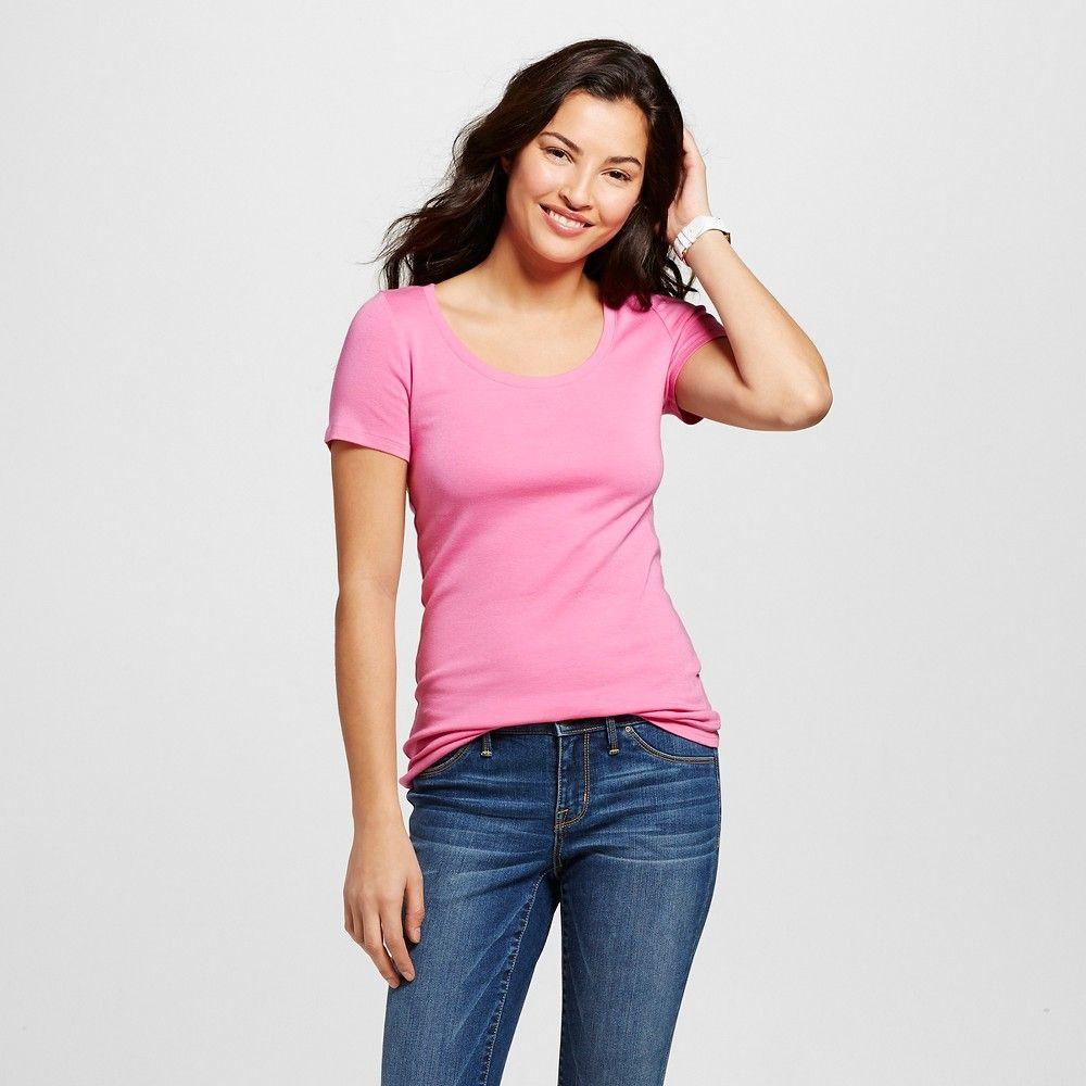 Women\'s Fitted Scoop Tee Fiesta Pink XL - Merona