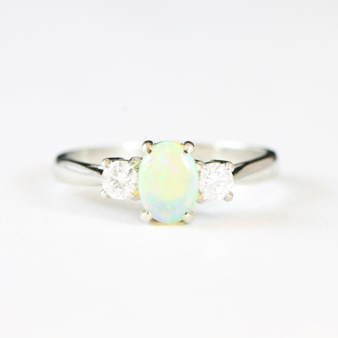 White Gold Opal And Diamond Engagement Ring In 18 Carat For Her Handmade Uk