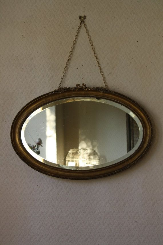 Vintage French Oval Gilt Mirror With Roses And Ribbon