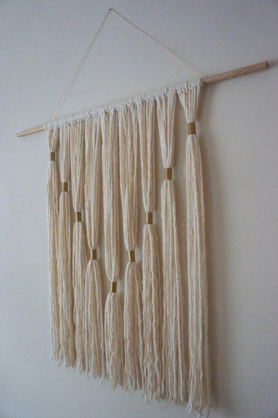 Modern wall hanging gold pinteres for Yarn wall hanging