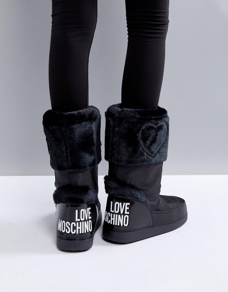 Faux Moschino Fur Black Boots Love Logo Snow uPkOXZi