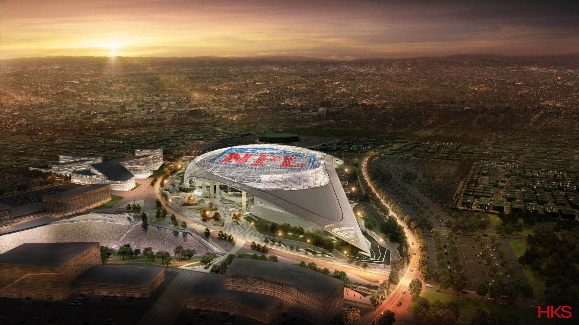 L A Stadium Hks Arch2o Com In 2020 Nfl Stadiums New Football Stadiums Los Angeles Rams