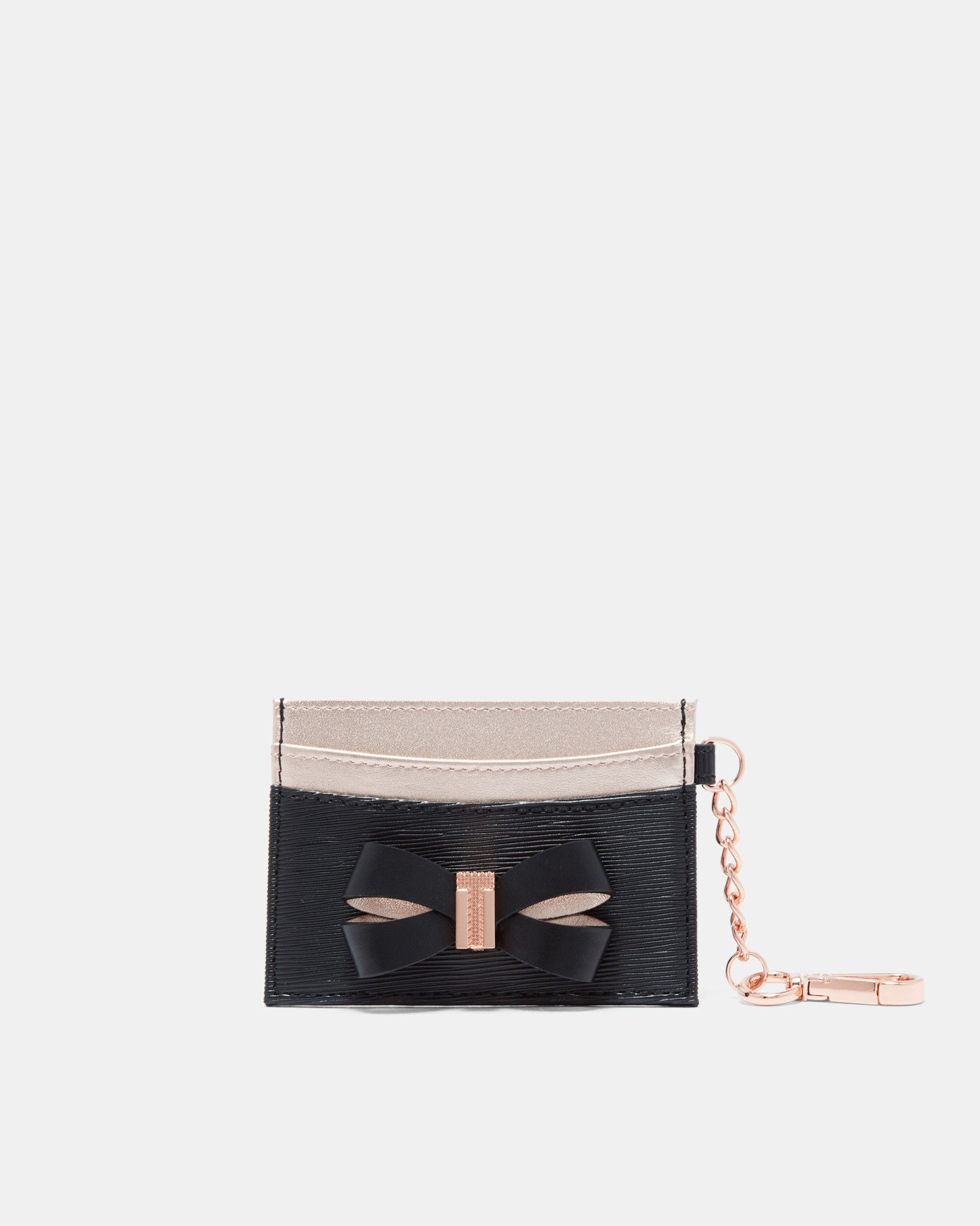 15070db7f Ted Baker Leather bow card holder with chain Black