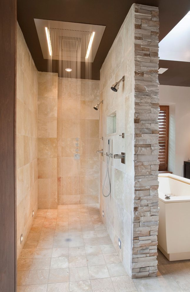 Photo of Home Depot Shower Board with Contemporary Bathroom and Beige Stone Wall Double S